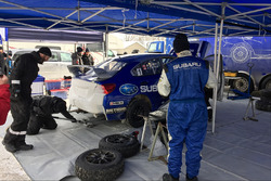Subaru Rally Team Canada mechanics working on the car of Antoine L'Estage