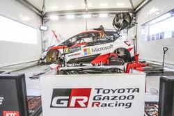 The car of Jari-Matti Latvala, Miikka Anttila, Toyota Yaris WRC, Toyota Racing in the team area