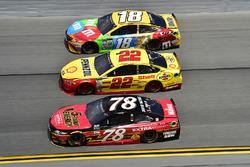 Martin Truex Jr., Furniture Row Racing, Toyota; Joey Logano, Team Penske, Ford; Kyle Busch, Joe Gibbs Racing, Toyota