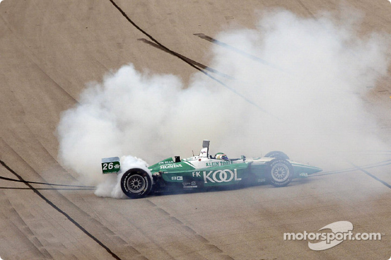 Paul Tracy celebrating after winning the Miller Lite 250