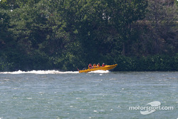 Rafting expedition on St. Laurent River, as seen from the track on Ile Notre-Dame