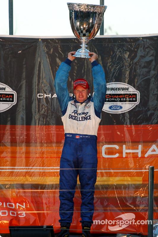 Podium: 2003 Champ Car champion Paul Tracy
