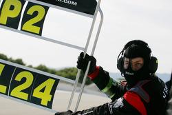 Pit board for #22 JR Motorsport Nissan GT-R: Peter Dumbreck, Richard Westbrook
