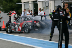 Pit stop for #23 JR Motorsport Nissan GT-R: Michael Krumm, Lucas Luhr