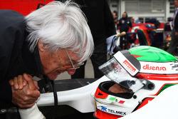 Bernie Ecclestone with Sergio Perez, Sauber F1 Team