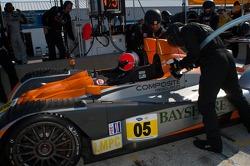 Pit stop for #05 Core Autosport Oreca FLM09: Jon Bennett, Frankie Montecalvo