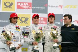 Podium: race winner Daniel Juncadella, Prema Powerteam Dallara F309 Mercedes, second place Roberto Merhi, Prema Powerteam Dallara F308 Mercedes, third place Nigel Melker, Mucke Motorsport Dallara F308 Mercedes