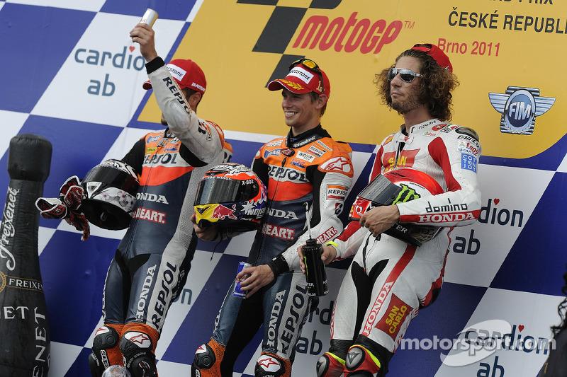 Peraih podium: Casey Stoner, Andrea Dovizioso dan Marco Simoncelli