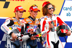 Podium: race winner Casey Stoner, Repsol Honda Team, second place Andrea Dovizioso, Repsol Honda Team, third place Marco Simoncelli, San Carlo Honda Gresini