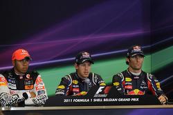 Press conference: pole winner Sebastian Vettel, Red Bull Racing, second place Lewis Hamilton, McLaren Mercedes, third place Mark Webber, Red Bull Racing
