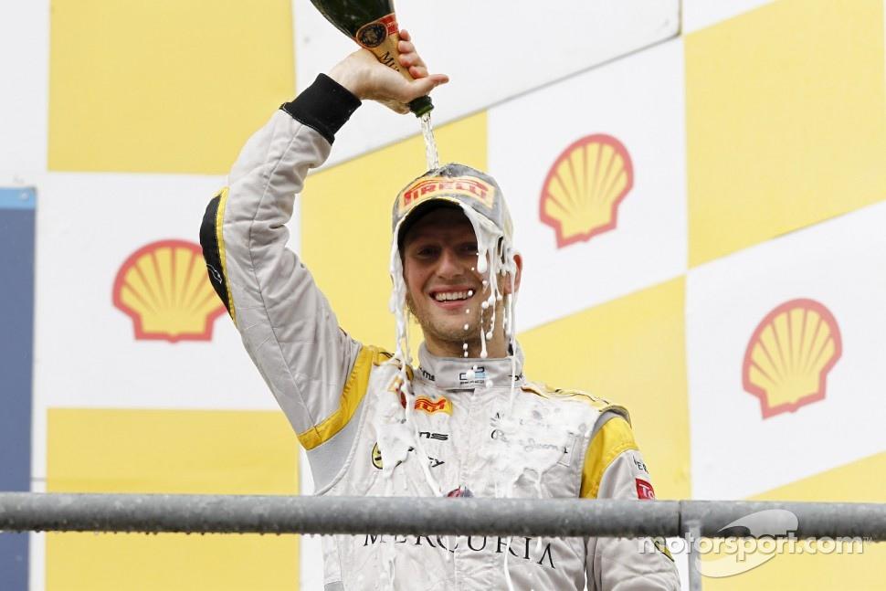 Romain Grosjean celebrates winning the 2011 GP2 Series title