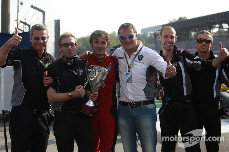 Luca Filippi celebrates his victory with his team