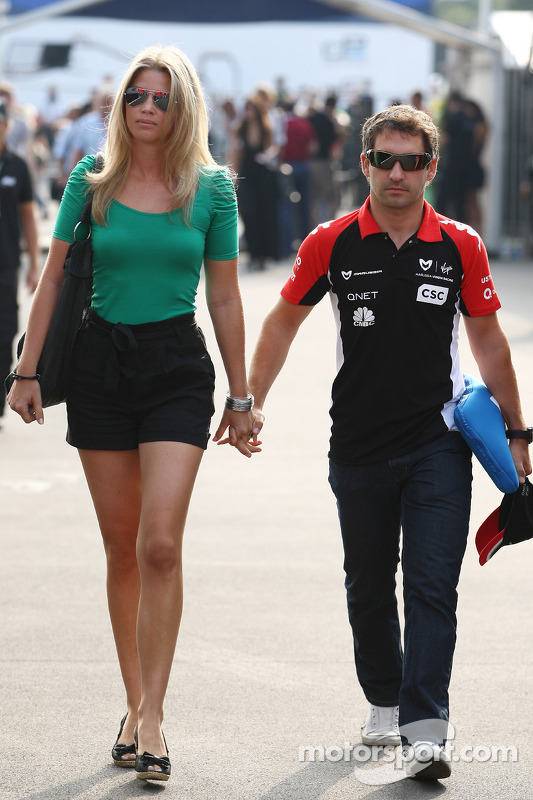 Isabell Reis girlfriend of Timo Glock and Timo Glock, Marussia Virgin Racing at Italian GP