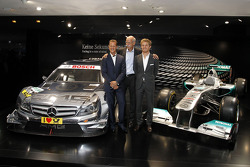 The new 2012 DTM AMG Mercedes C-Coupé with Michael Schumacher, Dr. Dieter Zetsche (Chairman of Mercedes-Benz Cars) and Nico Rosberg