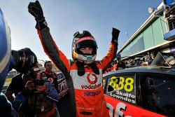 Race winner Craig Lowndes celebrates