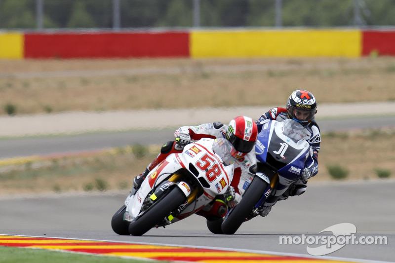 Marco Simoncelli, San Carlo Honda Gresini y Jorge Lorenzo, Yamaha Factory Racing en el GP de Aragón 2011