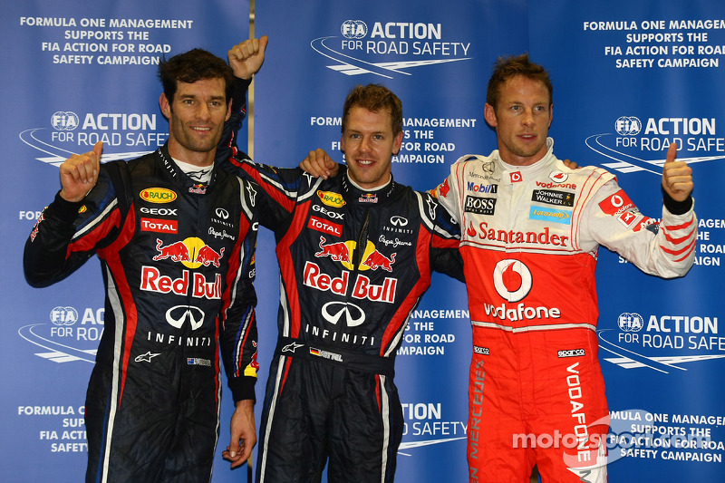 Pole winner Sebastian Vettel, Red Bull Racing, second place Mark Webber, Red Bull Racing, third plac