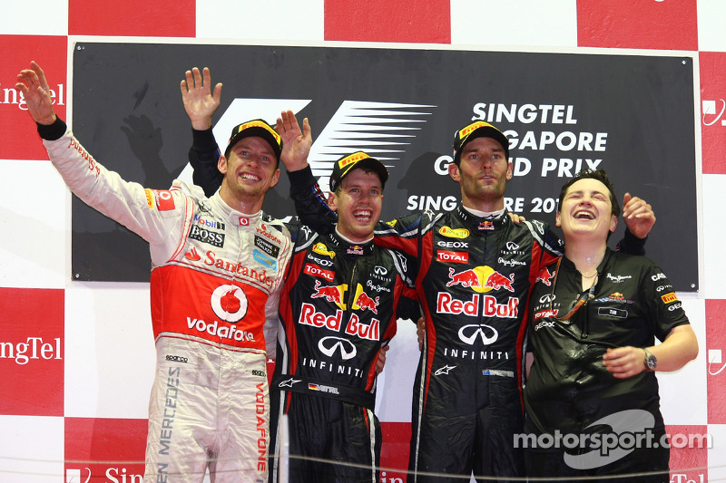 2011: 1. Sebastian Vettel, 2. Jenson Button, 3. Mark Webber