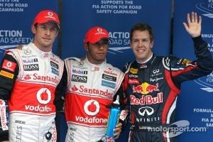 Polesitter Lewis Hamilton, McLaren Mercedes, second place Sebastian Vettel, Red Bull Racing and third place Jenson Button, McLaren Mercedes