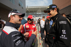 Rubens Barrichello, AT&T Williams with Felipe Massa, Scuderia Ferrari and Bruno Senna, Lotus Renault GP