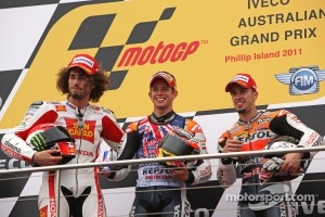 Australian GP Podium: race winner Casey Stoner, second place Marco Simoncelli, third place Andrea Dovizioso