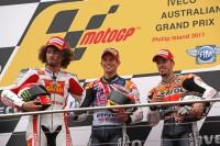 Podium: race winner Casey Stoner, second place Marco Simoncelli, third place Andrea Dovizioso