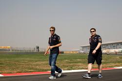 Sebastian Vettel, Red Bull Racing walks the track