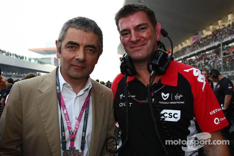 Rowan Atkinson, British actor, with Graeme Lowden, Virgin Racing director of racing