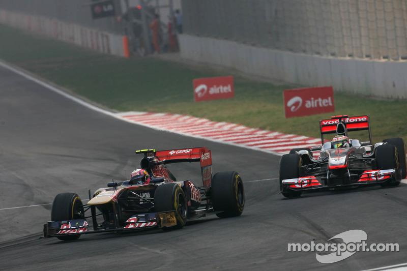 Jaime Alguersuari, Scuderia Toro Rosso and Lewis Hamilton, McLaren Mercedes