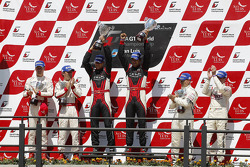 Podium: drivers champions Michael Krumm, Lucas Luhr, second place Darren Turner, Stefan Mücke, third place Andrea Piccini, Christian Hohenadel