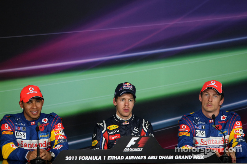 Pole winner Sebastian Vettel, Red Bull Racing, second place Lewis Hamilton, McLaren Mercedes, third