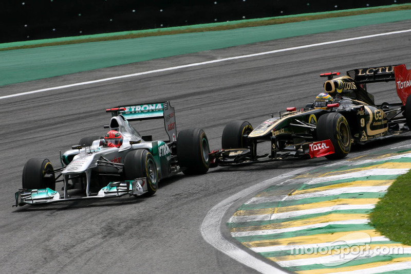 Michael Schumacher, Mercedes GP and Bruno Senna, Renault F1 Team