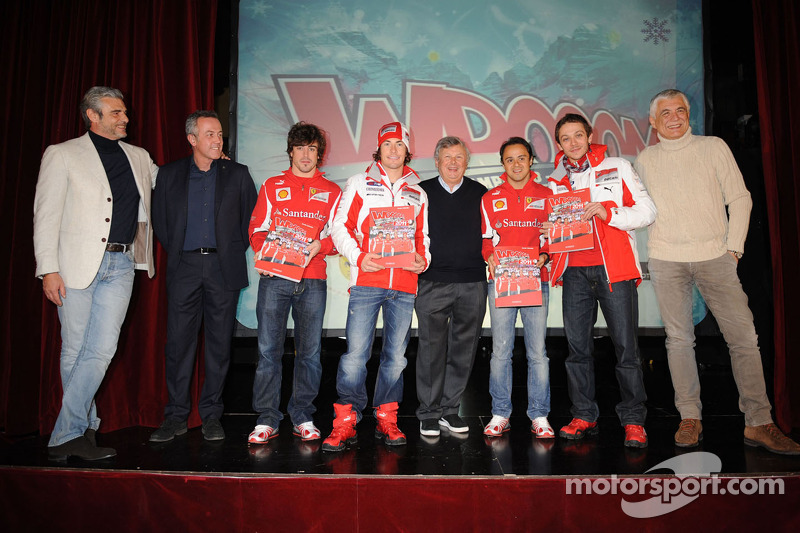 Felipe Massa, Nicky Hayden, Fernando Alonso en Valentino Rossi