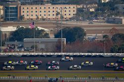 A.J. Allmendinger, Penske Racing Dodge and Marcos Ambrose, Petty Motorsport Ford lead the pack