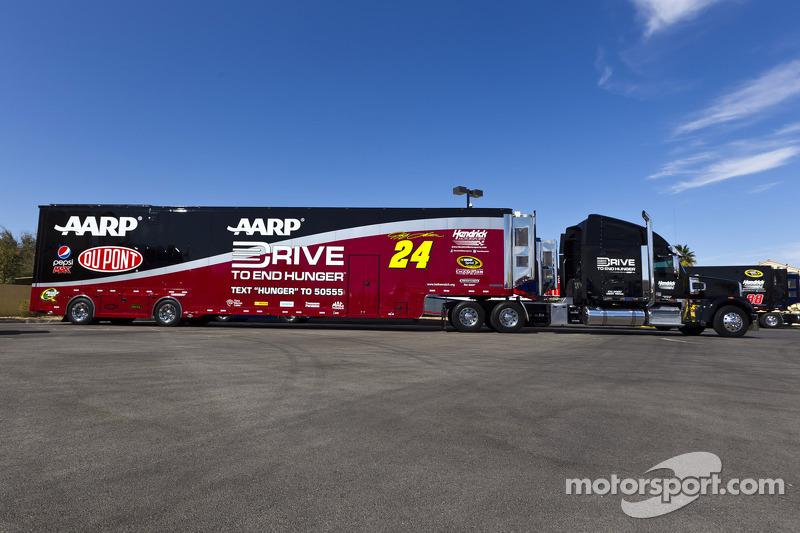 The hauler of Jeff Gordon, Hendricks Motorsports Chevrolet