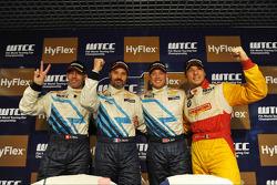 Press conference, Alain Menu, Chevrolet Cruze 1.6T, Chevrolet, Yvan Muller, Chevrolet Cruze 1.6T, Chevrolet, Robert Huff, Chevrolet Cruze 1.6T, Chevrolet and Stefano D'Aste, BMW 320 TC, Wiechers-Sport