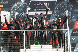 Podium: race winners Christian Engelhart, Mirko Bortolotti, GRT Grasser Racing Team, second place Stuart Leonard, Robin Frijns, Team WRT, third place Will Stevens, Markus Winkelhock, Belgian Audi Club Team WRT