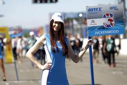Grid girl of Tom Chilton, Sébastien Loeb Racing, Citroën C-Elysée WTCC