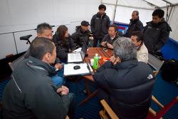 Morning meeting at Hitotsuyama Racing: Cyndie Allemann, Michael Kim, Frank Yu, Ken Kobayashi, Hideki Noda