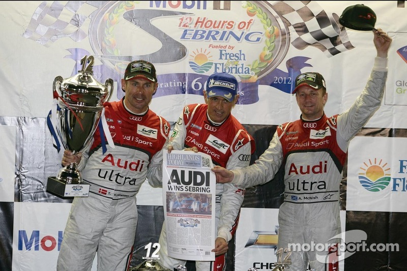 P1 podium: overall winners Rinaldo Capello, Allan McNish and Tom Kristensen