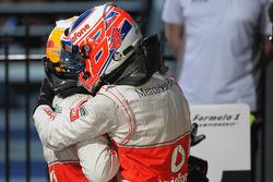Lewis Hamilton, McLaren Mercedes and 1st place Jenson Button, McLaren Mercedes