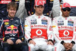 Sebastian Vettel, Red Bull Racing, Jenson Button, McLaren Mercedes and Lewis Hamilton, McLaren Mercedes