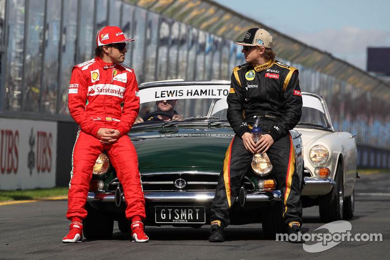 Fernando Alonso, Scuderia Ferrari en Kimi Raikkonen, Lotus F1 Team