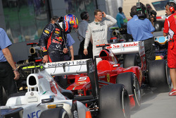 Mark Webber, Red Bull Racing check the rivals cars