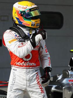 Lewis Hamilton, McLaren Mercedes celebrates his pole position in parc ferme