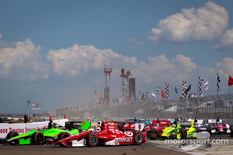 James Hinchcliffe, Andretti Autosport Chevrolet en Scott Dixon, Target Chip Ganassi Racing Honda