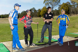 Will Davison, Michael Caruso, Mark Winterbottom and Taz Douglas in a golf challenge at Launceston Golf Club