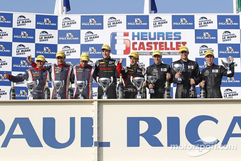 Podium: winners Mathias Beche, Pierre Thiriet, second place Stéphane Sarrazin, Nicolas Minassian, Nicolas Marroc, third place Yelmer Buurman, Alexander Sims, Dean Stirling