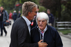 Eddie Jordan, BBC Television Pundit talks with Bernie Ecclestone, CEO Formula One Group