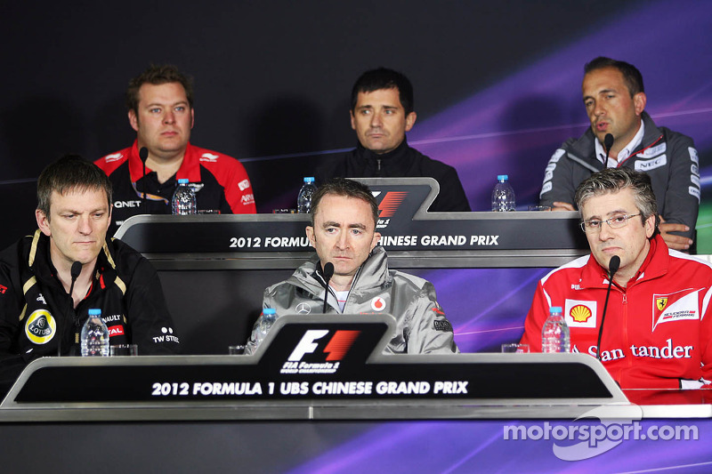 The FIA Press Conference, Marussia Racing; Toni Cuquerella, Hispania Racing F1 Team, Technical Director; Matt Morris, Sauber F1 Team Chief Designer; James Allison, Lotus F1 Team Technical Director; Paddy Lowe, McLaren Mercedes Technical Director; Pat Fry,